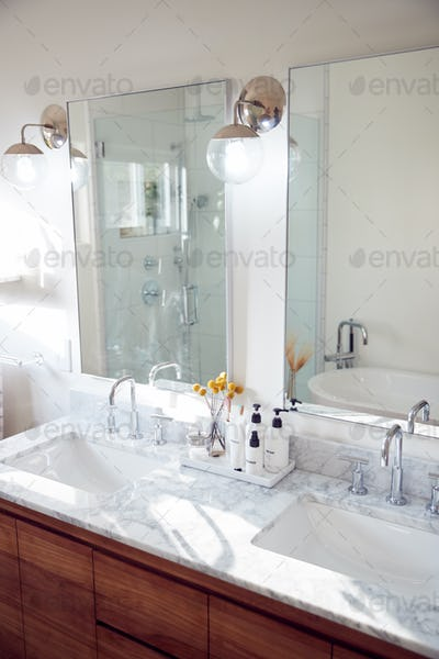 Interior View Of Beautiful Bathroom In New Family House