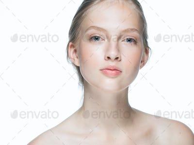 Beautiful woman young modelpure healthy skin