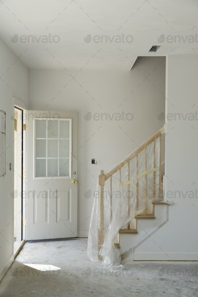 Entryway of house under construction