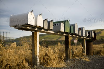 Row of mailboxes, Palouse, Washington