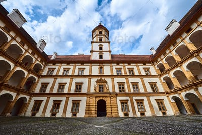 View at Eggenberg palace courtyard tourist spot, famous travel destination in Styria.