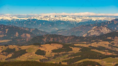 Panorama from Shockl mountain in Graz. Tourist spot in Graz Styria.