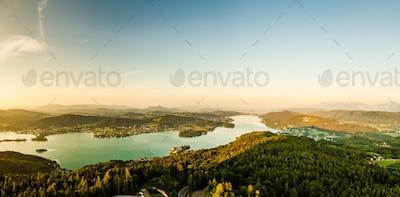 Panorama Lake and mountains at Worthersee Karnten Austria tourist spot