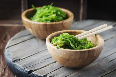 Traditional Japanese salad chuka on the wooden table