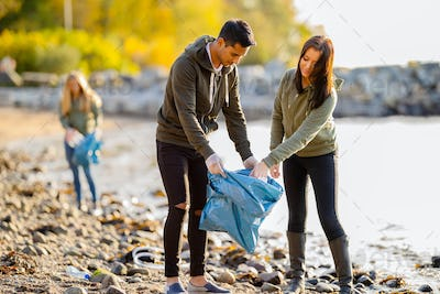 Team of environmental conservation volunteers cleaning beach on sunny day