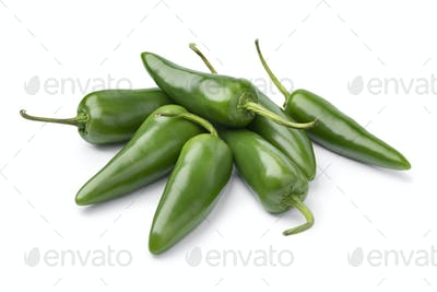 Heap of fresh green jalapeno peppers