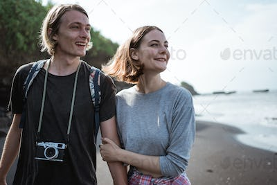 Young couple vacation on the beach