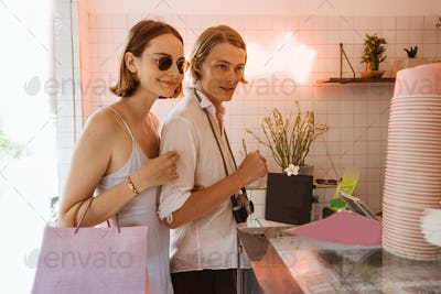 couple dating buying a ice cream