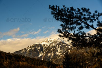 Mountains in Styria Bad Mitterndorf Alps sunset