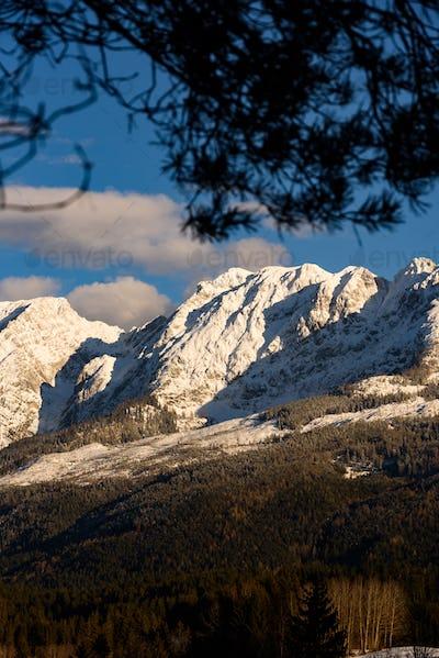 Mountains in Styria Bad Mitterndorf Alps sunset
