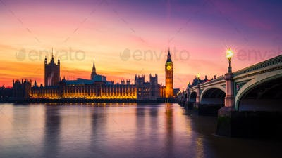 Big Ben and the Houses of Parliament at Sunset, Westminster, London, UK