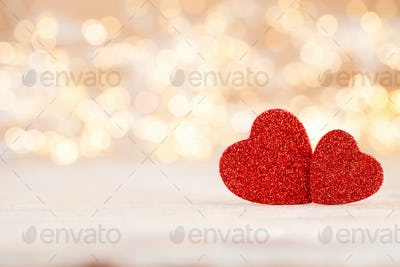 Red heart bokeh background, valentine day greeting card.