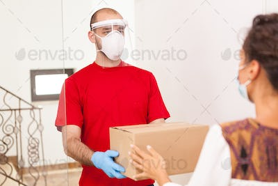Food courier with protection mask