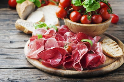 Italian Antipasto with ham and bresaola