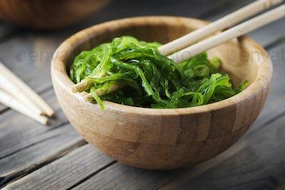 Japanese chuka salad on the wooden table