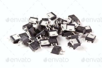Electronic transistors on a light background