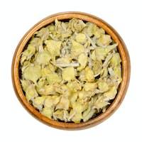 Greek mountain tea in wooden bowl, also ironwort, Sideritis or shepherds tea
