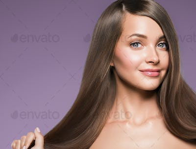 Smooth hair woman long brunette hair beauty hairstyle model