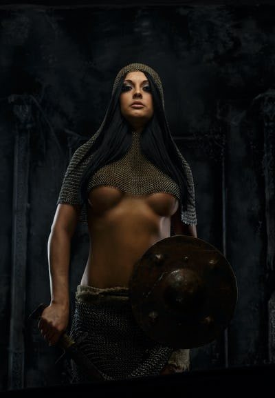 Awesome girl in ancient armor