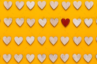 Happy Valentines day background. With small color hearts on yellow background.