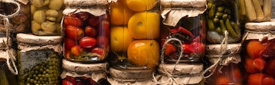 Top View of Delicious Homemade Tasty Pickles, Panoramic Shot
