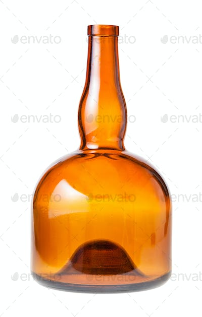 empty wide brown liquor bottle isolated on white