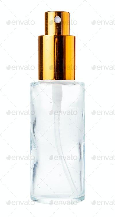 empty portable perfume spray glass bottle isolated