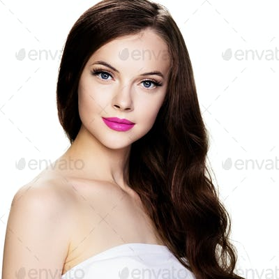 Beautiful brunette beauty lashes pink lipstick hairstyle healthy skin isolated white model portrait