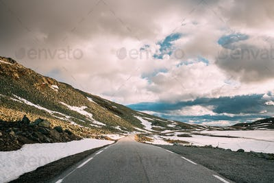 Aurlandsfjellet, Norway. Open Road Aurlandsfjellet. Scenic Route Road In Summer Norwegian Landscape