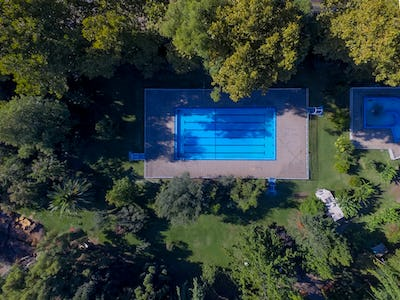 Aerial view of swimming pool. Top view