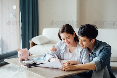 Young couple working together at home