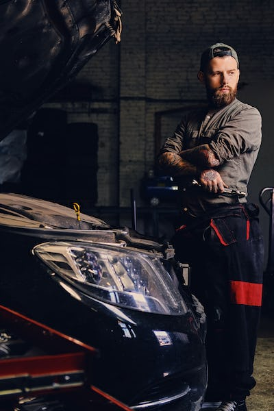 Bearded mechanics with crossed arms posing near a car.