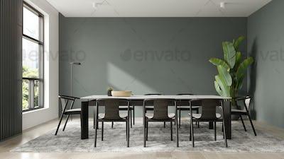 Minimalist Interior of modern living room 3D rendering