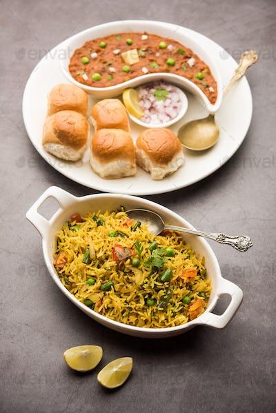 Tasty Pav Bhaji with Tawa Veg Pulav is a popular Indian food