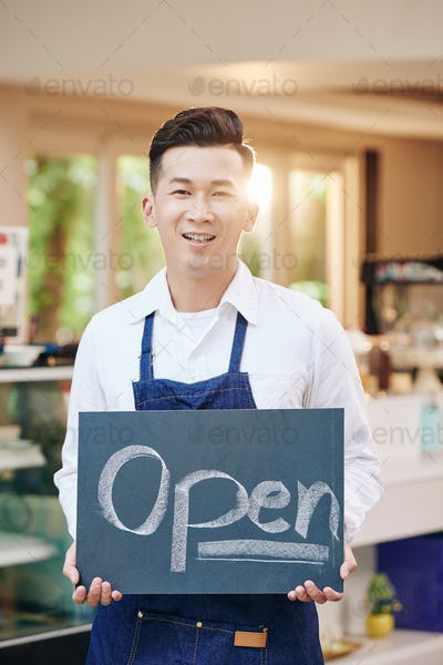 Young Asian coffeeshop owner
