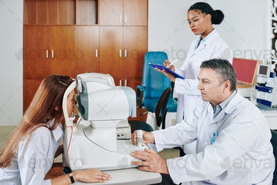 In office of ophthalmologist