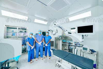 Medical workers in surgical uniform