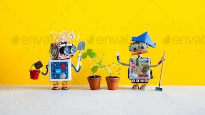 Robotics automation gardening concept.