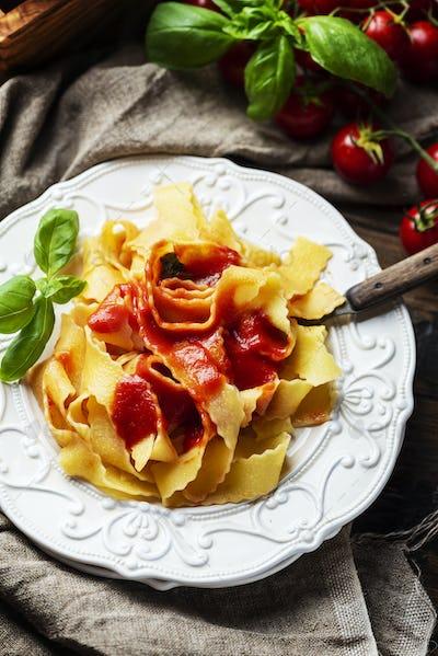 Cooked italian pasta