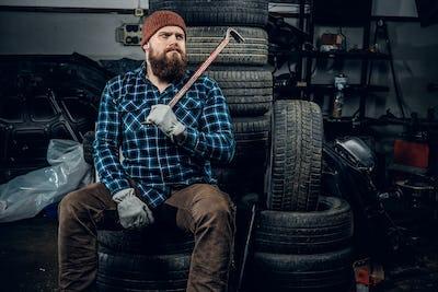 A man in a garage