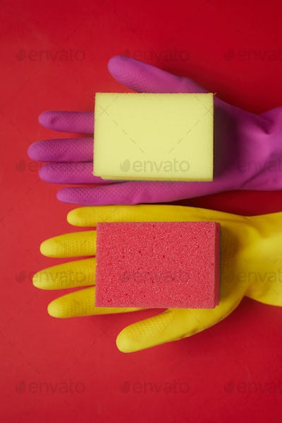 Rubber gloves with sponges for cleaning