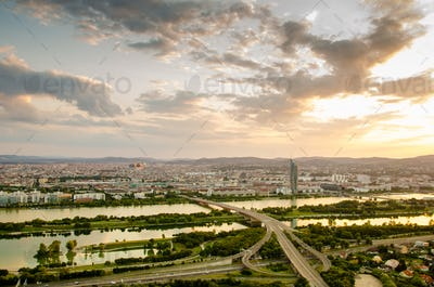 Aerial view at Vienna city and Donau river