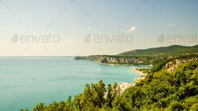 View at Bay with tourist resort in gulf of Trieste near town Sistiana, Italy, Europe. Travel