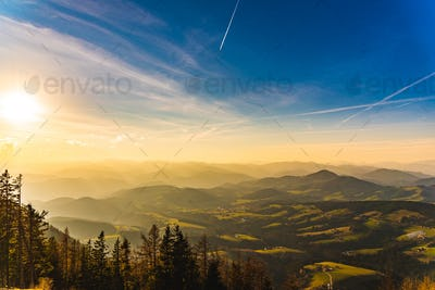Landscape view during sunset in spring from Graz Schockl mountain in Styria Austria