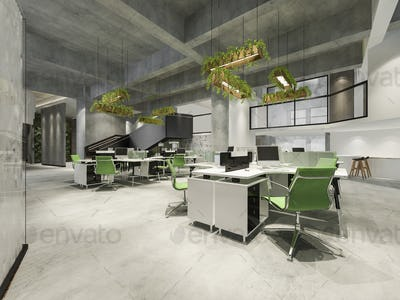 3d rendering business meeting and green working room on office building