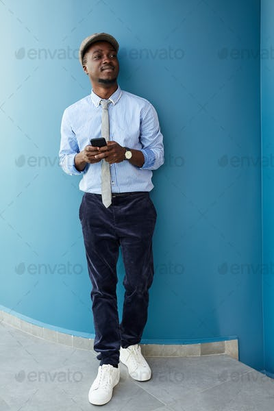 African businessman with mobile phone