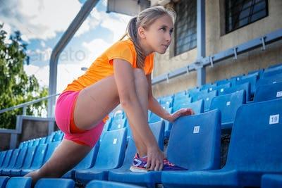 Blond Female in sportswear
