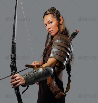 A woman with bow.