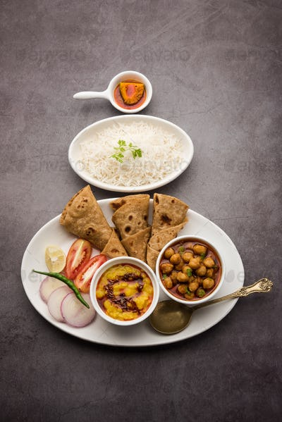 Indian Food Platter or Thali contains vegetarian recipes, a complete meal