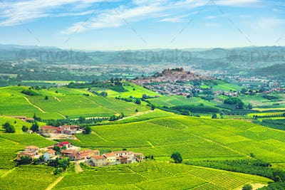 Langhe vineyards panorama, Roddi village, Piedmont, Italy Europe.